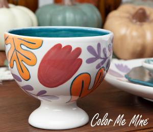Burr Ridge Floral Pedestal Bowl